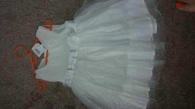 Piękna biała  sukienka na chrzest  80