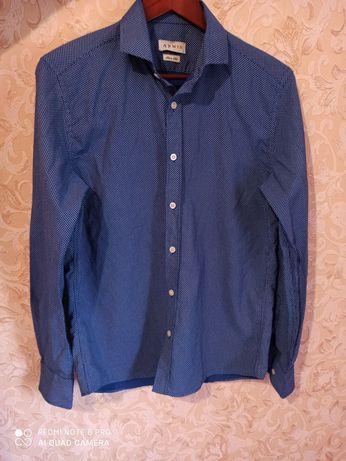 Рубашка   синяя в белую точку
