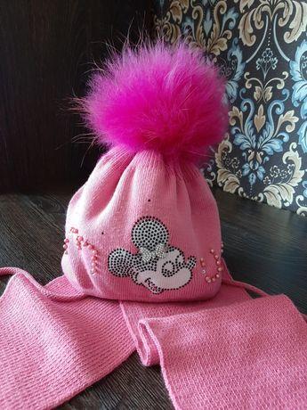 Шапка шапочка для девочки на девочку зимняя с шарфиком1-3лет Польша