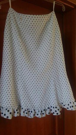 Spódniczka/ spódnica  biała w czarne grochy - rozmiar S, stan idealny!