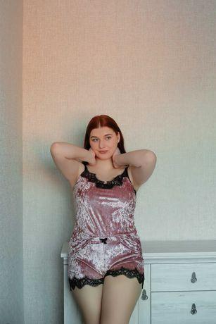 Пижамный комплект для сна женский из бархата