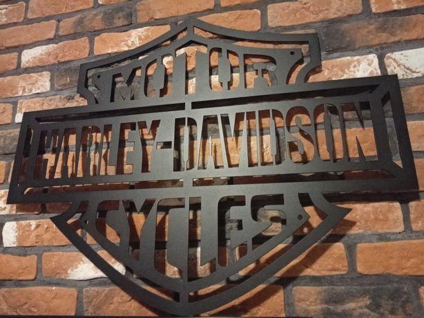 Logo blacha Harley Davidson na prezent dla motocyklisty 62x80cm!