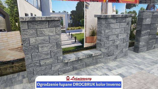 Ogrodzenie łupane DROGBRUK Splitowane system ogrodzeń bloczek łupany
