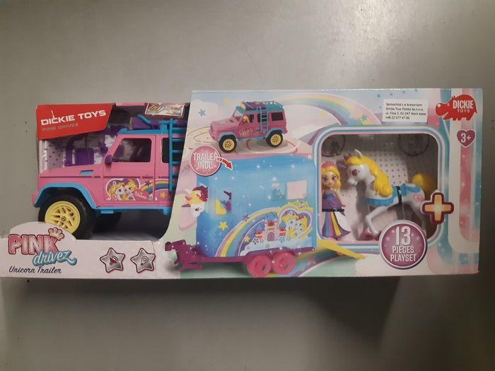 Nowy samochód dżokejki Pink Drivez przyczepa jednorożec Dickie Toys Warszawa - image 1