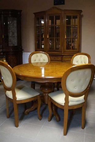 Piękny Włoski Zestaw Komplet Mały Salon Stół 4 Krzesła Witryna