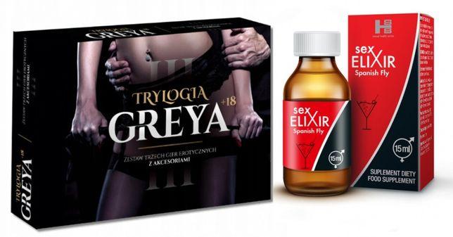 Gra Erotyczna Sex Grey dla Par zestaw 3 gier + SEX ELIXIR AFRODYZJAK