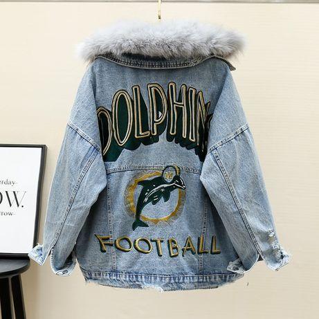 Объёмная джинсовая куртка с натуральным мехом