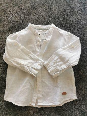 Lniana koszula biała Zara rozmiar 80