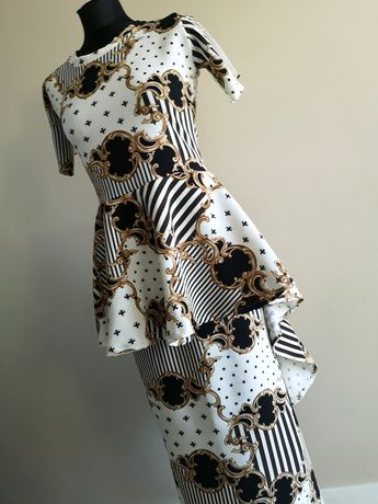 Piękny komplet maxi wzór vesace długi tył spódnica