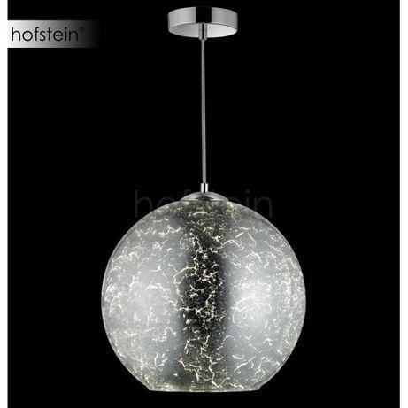 Elegancka szklana kula Honsel SUN wisząca chrom srebrna gwint E27