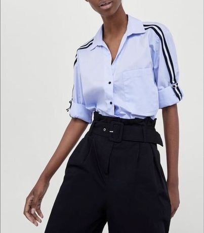 Рубашка zara, блузка, блуза голубая кофта с рукавами кофточка