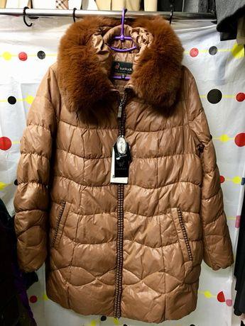 Куртка зимняя, женская удлинённая, пух100%, люкс качество 54-58 р