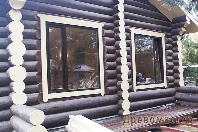 окосячка, обсада, обсадные коробки, окна в сруб, деревянный дом