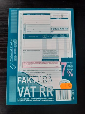Faktura VAT RR -bloczki 9 sztuk