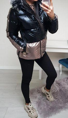 Metaliczna czarna kurtka z futerkiem S