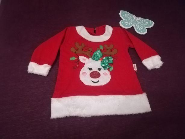 Sweterek, bluza, bluzka świąteczna Boże Narodzenie roz 80 dziewczynka