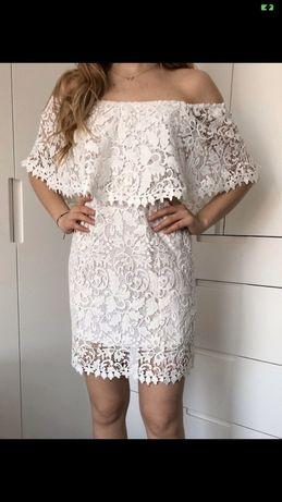 Biała sukienka koronkowa ZARA
