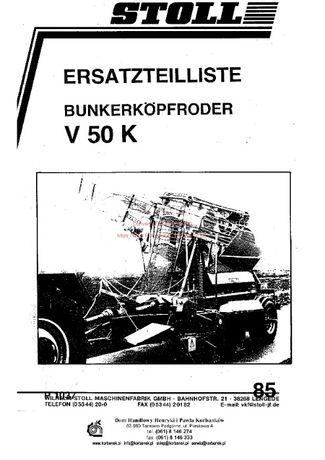 Katalog części Kombajn ziemniaczany Stoll V50