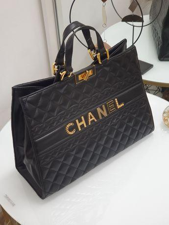 Кожаная стильная женская сумка шоппер Chanel