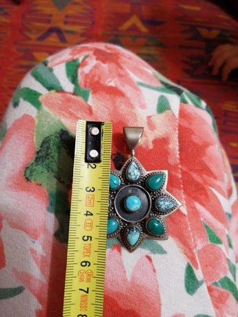Wisior, zawieszka, medalion, turkus, kamień srebro, jak Navajo.