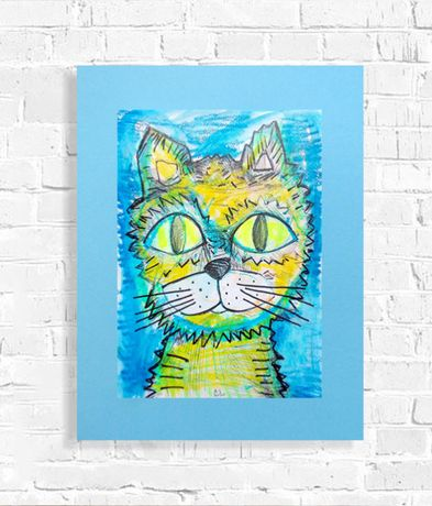 śmieszny rysunek z kotem, kot obraz dla dzieci, kot grafika na ścianę