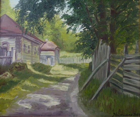 """Картина маслом на холсте """"Лето в деревне"""" в багете"""