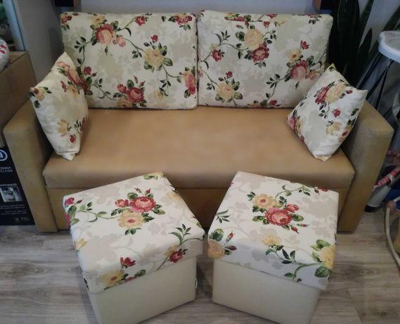 Kanapa sofa rozkładana + 2 pufy komplet wypoczynkowy