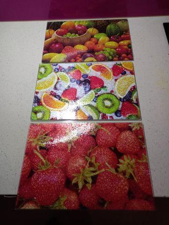 Deska szklana kuchenna ZESTAW 4 SZTUK kolory różne wzory