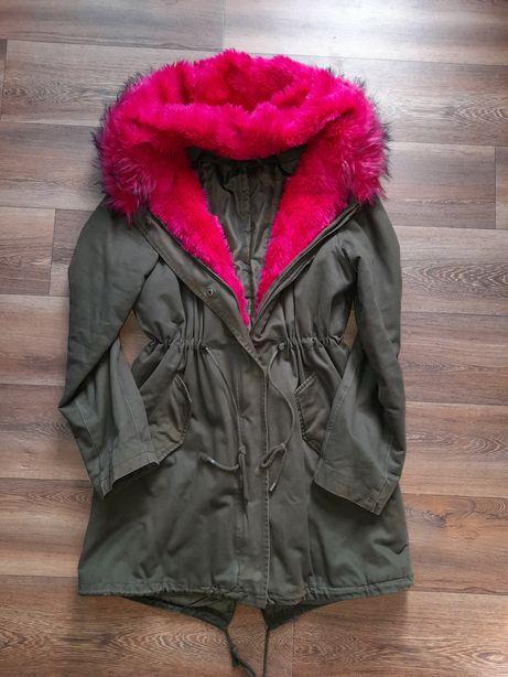 Kurtka/parka zimowa z rozowym futrem