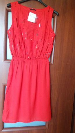 sukienka wizytowa, wieczorowa, koktajlowa, czerwona, rozm.34