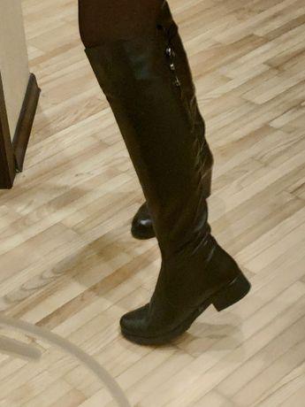 Сапоги ботфорты женские, кожа, еврозима