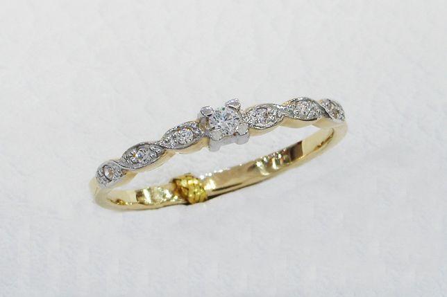 Złoty pierścionek z cyrkoniami 585 r. 15 -CHORZÓW- Zapytaj o rabat!