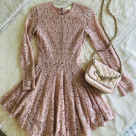 Пудровое гипюровое платье H&M