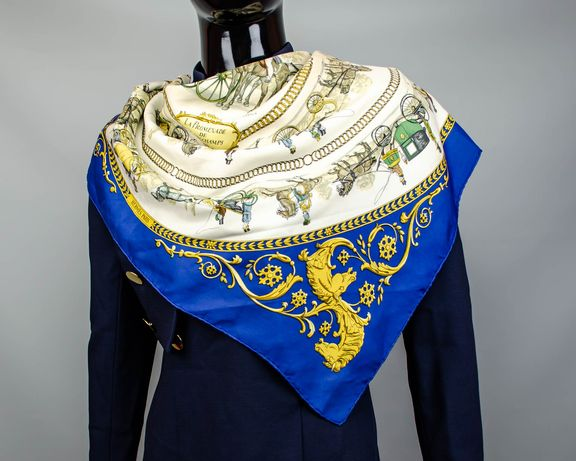 Фирменный шелковый большой платок Hermes La Promenade De Longchamps