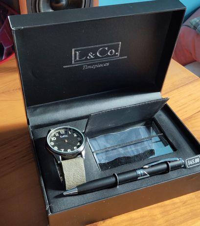Подарочный набор наручные часы lsCo, визитница кардхолдер , ручка