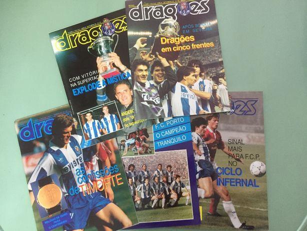 """Conjunto de 5 revistas oficiais do FC Porto, """"DRAGÕES"""" de 1992 e 1993"""
