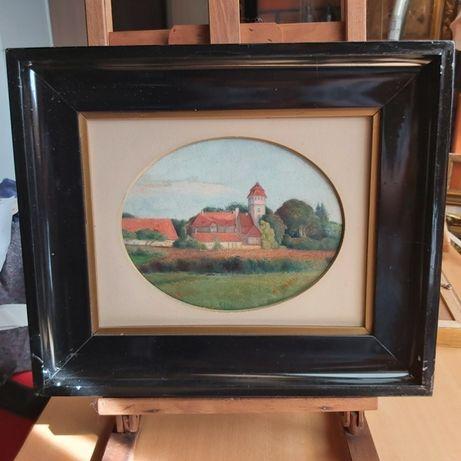 Obraz olejny - Pejzaż z klasztorem