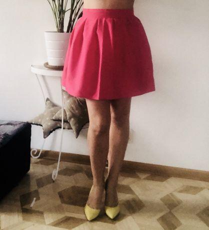 Różowa spódnica plisy zaszewki suwak kobieca śliczna na okazje wesele