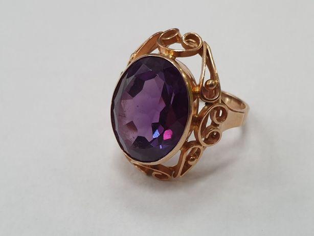 Aleksandryt! Przepiękny! Retro! Duży pierścionek damski/ 585/ 9.8g R16