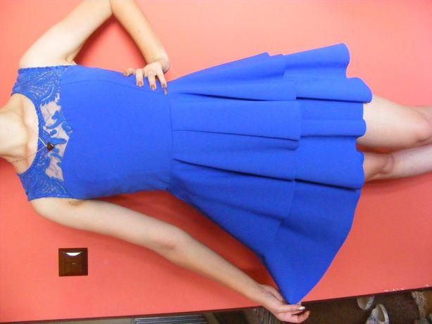 Sukienka chabrowa koronka -- S