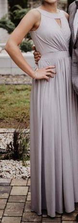 Długa sukienka Srebna Maxi