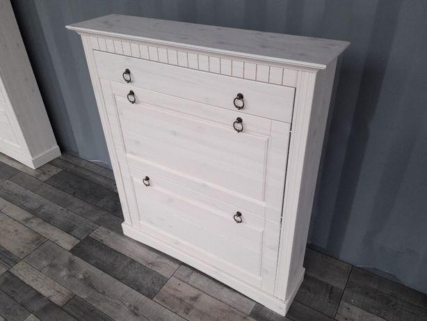 Mała Sosnowa biała szafka na buty