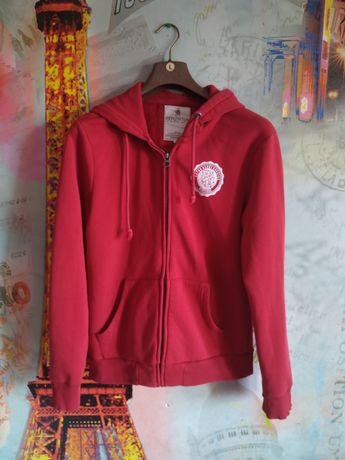 Bluza z kapturem czerwona młodzieżowa damska dla nastolatków rozpinana