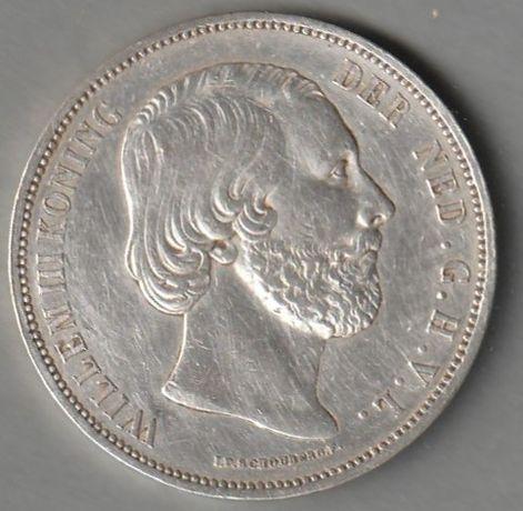 moneta Holandia 2 1/2 guldena 1874 - srebro - król Wilhelm-Willem III