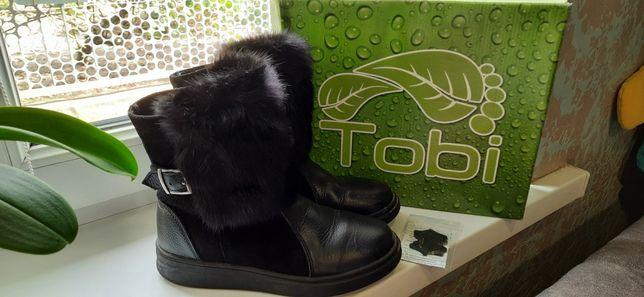 Кожаные,натуральные зимние сапожки,сапоги девочке ТМ Tobi!
