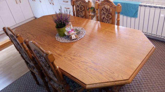 Piękny duży stół dębowy + 8 krzeseł