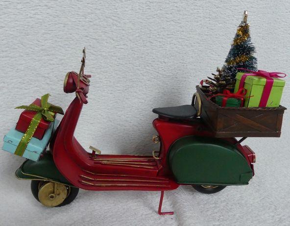 Metalowy SKUTER MOTOR czerwony ŚWIĘTA 26,5 prezent