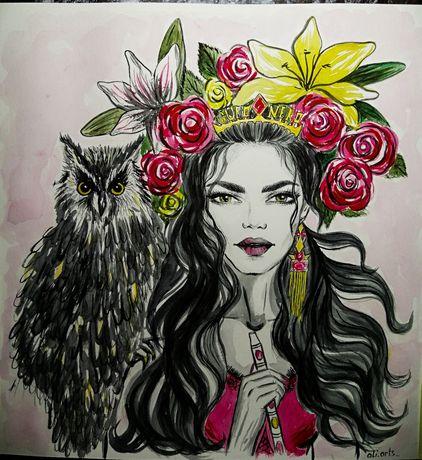 Шикарная картина иллюстрация акварель фешн девушка цветы сова