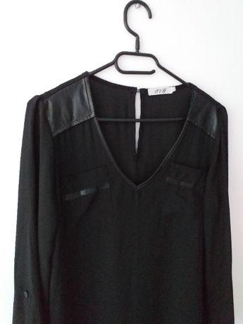 Sukienka v-neck szyfonowa asymetryczna łezka czarna