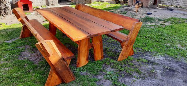 Stół ogrodowy z ławkami. Sosnowy